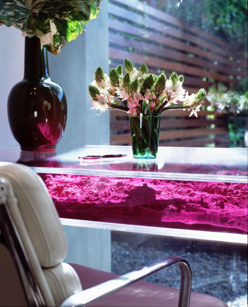 Lucite Containers   Contemporary Spaces Also Desk Eames Chair Floor to Ceiling Glass Glass Desk Hot Pink Lucite Desk Lucite Table Office Space Pink Table Powder Table Sand Vases White Leather White Leather Desk Chair Wood Panel Wall