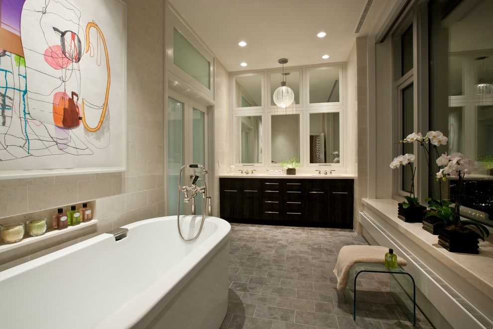 Lucite Containers with Contemporary Bathroom Also Artwork Bathroom Niche Ceiling Lighting Double Sinks Double Vanity Freestanding Tub Lucite Stool Neutral Colors Orchid Recessed Lighting Shared Bathroom