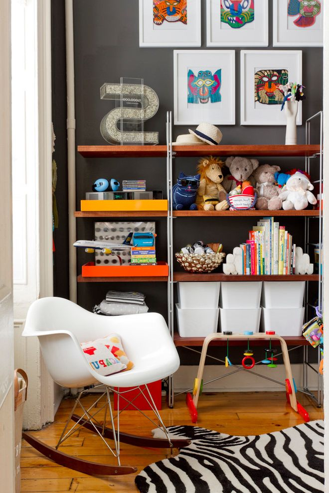 Lucite Containers with Eclectic Nursery Also Bookshelf Framed Art Toy Storage White Rocking Chair Zebra Rug