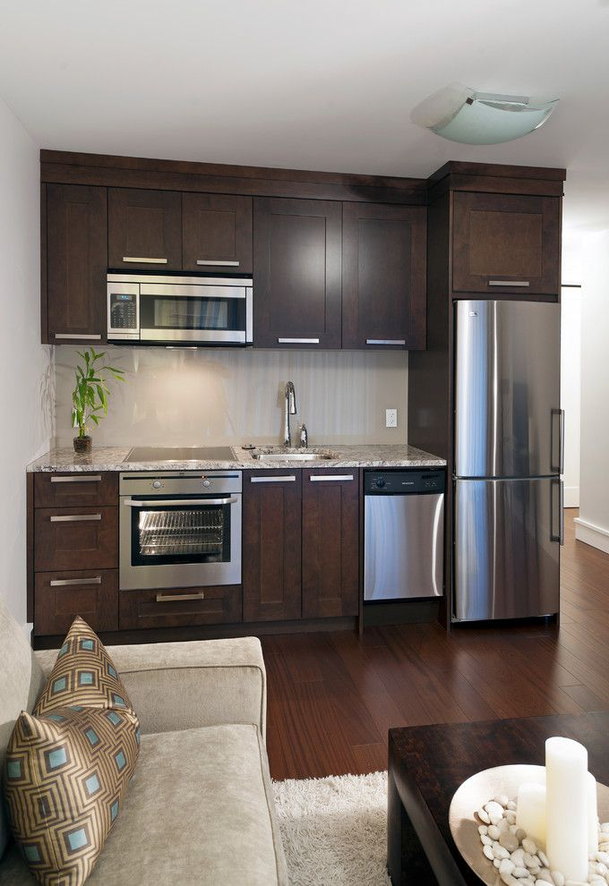 Microwave Above Stove   Transitional Kitchen  and Basement Built in Fridge Cooktop Dark Dark Stained Wood Cabinets Flat Panel Cabinets Hardwood Floors Kitchenette Microwave Oven Shaker Cabinets Small Dishwasher Small Kitchen Space Saver Microwave Stain