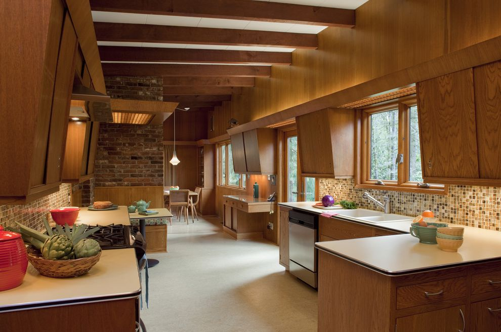 Mid Century Modern Media Stand   Midcentury Kitchen  and Breakfast Nook Brick Wall Casement Windows Eat in Kitchen Exposed Beams Kitchen Table Mid Century Modern Mosaic Tile Plywood Retro Tile Kitchen Backsplash Vintage Wood Cabinets Wood Kitchen