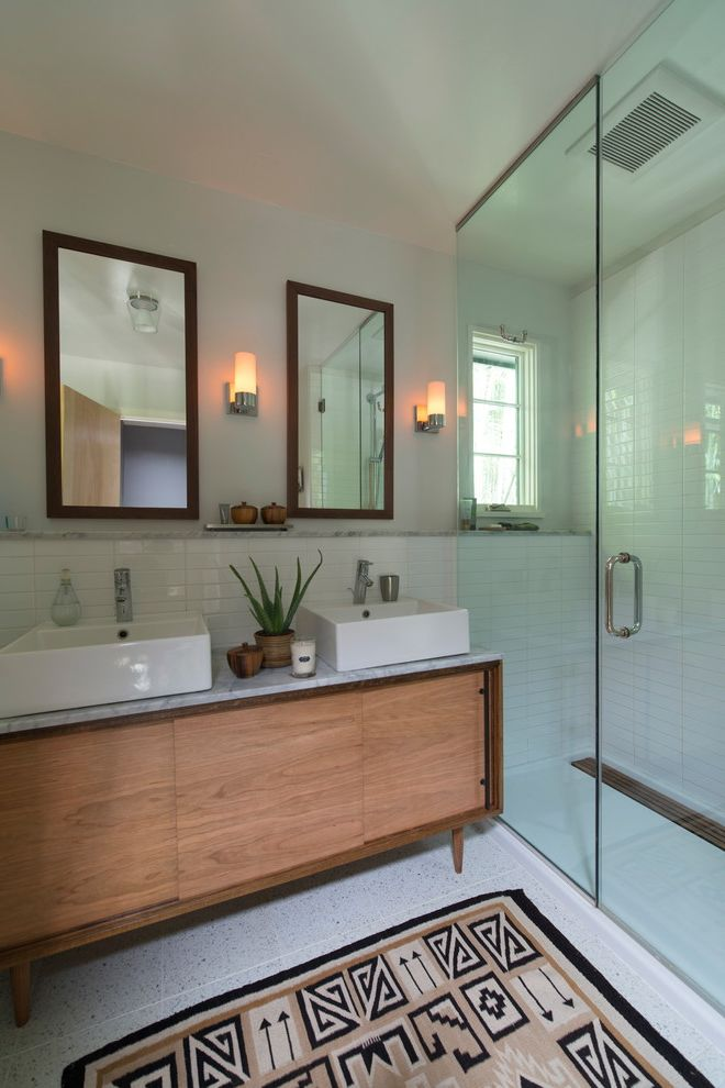 Mid Century Modern Media Stand   Transitional Bathroom Also Double Vanity Fiberglass Shower Pan Framed Rectangular Mirrors Frameless Glass Shower Marble Top Vanity Mid Century Vanity Terrazzo Tile Two Sinks Wall Sconce White Countertop