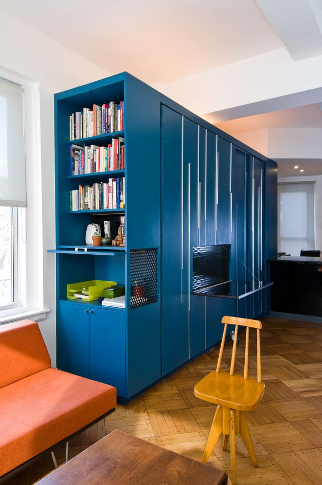 Modernica Case Study Bed   Modern Home Office Also Blue Casters Coffee Table Custom Cabinetry Day Bed Folding Panels Metal Screen Murphy Bed Orange Sofa Parquet Floor Privacy Seating Area Sleeping Area Small Wood Stool Work Area
