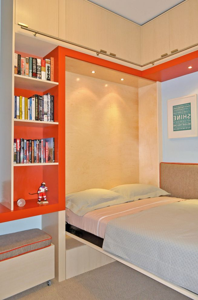 Modernica Case Study Bed with Contemporary Kids Also Bedroom Bookcase Bookshelves Built in Bed Built in Shelves Ceiling Lighting Convertible Bed Murphy Bed Orange Plywood Recessed Lighting