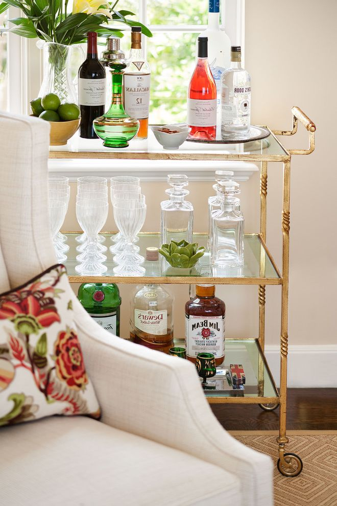 Monogrammed Whiskey Decanter with Traditional Living Room  and Floral Lumbar Pillows Jan Showers Bar Cart White Wing Back Chairs
