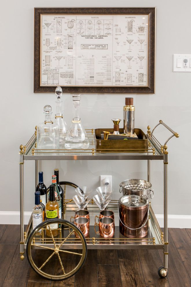 Monogrammed Whiskey Decanter with Transitional Home Bar  and Transitional