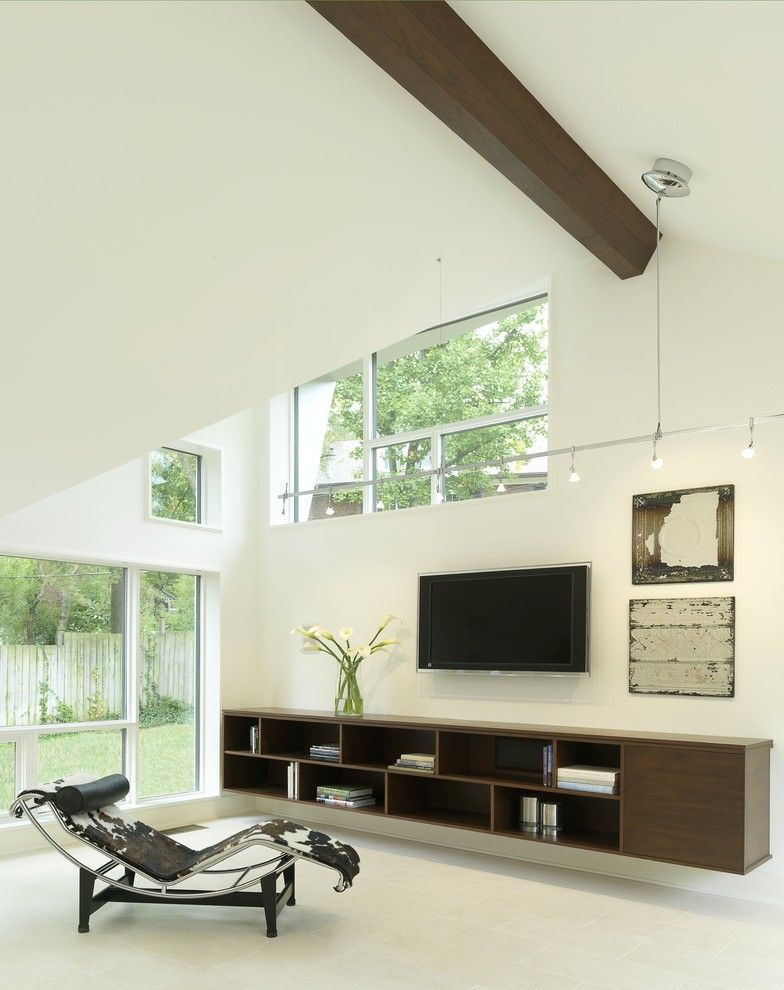 Narrow Tv Console with Contemporary Family Room  and Contemporary