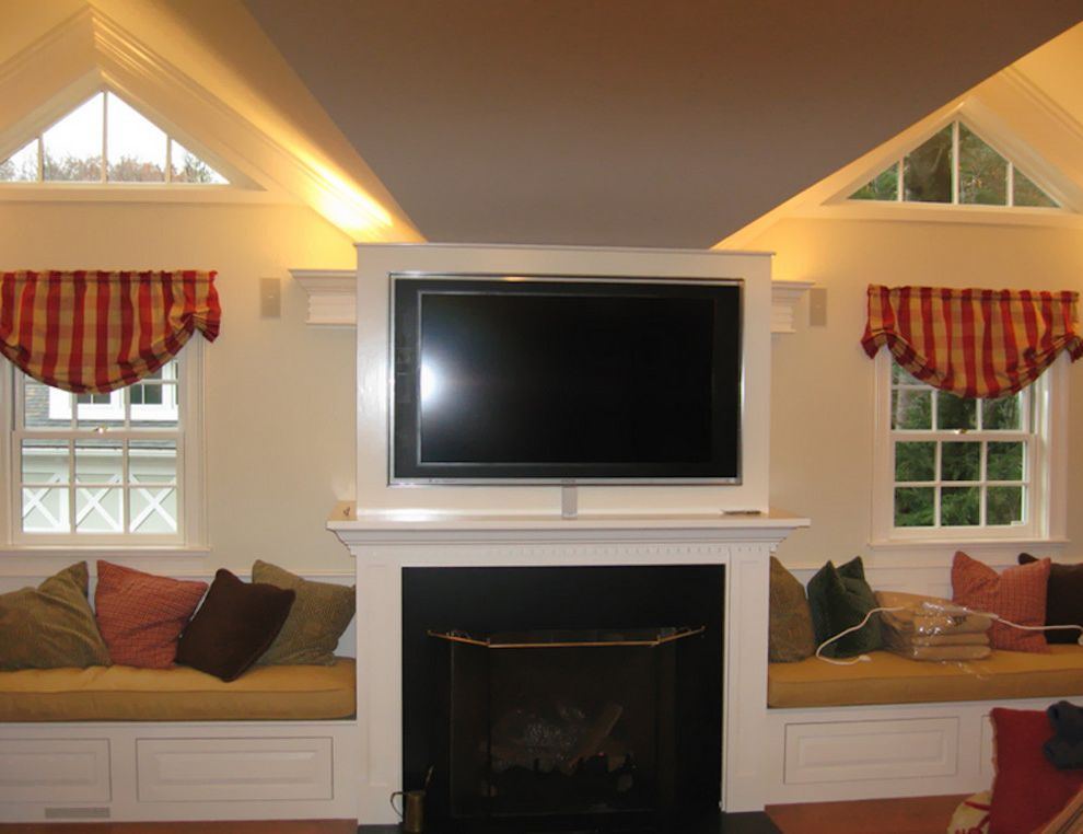 Natick Theater   Traditional Family Room Also Boston Home Media Built in Seating Built in Window Seat Home Theater Natick Home Media Tv Mounted Above Fireplace Tv Mounted on Wall