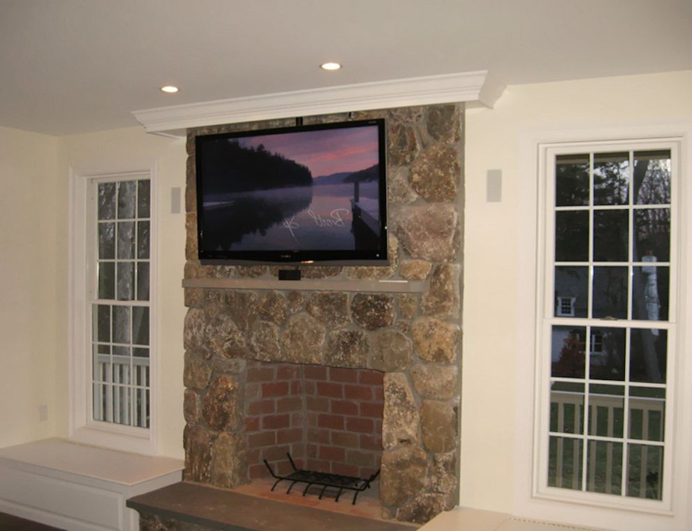 Natick Theater with Traditional Family Room Also Boston Home Media Home Theater Natick Home Media Stone Fireplace Tv Above Fireplace Tv Mounted on Wall