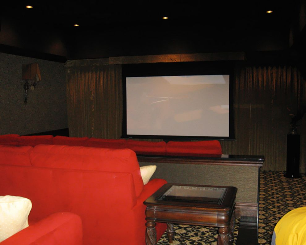Natick Theater with Traditional Home Theater  and Boston Home Media Carpet Flooring Home Theater Natick Home Media Recessed Lighting Red Chair Red Sifa Red Theater Seating