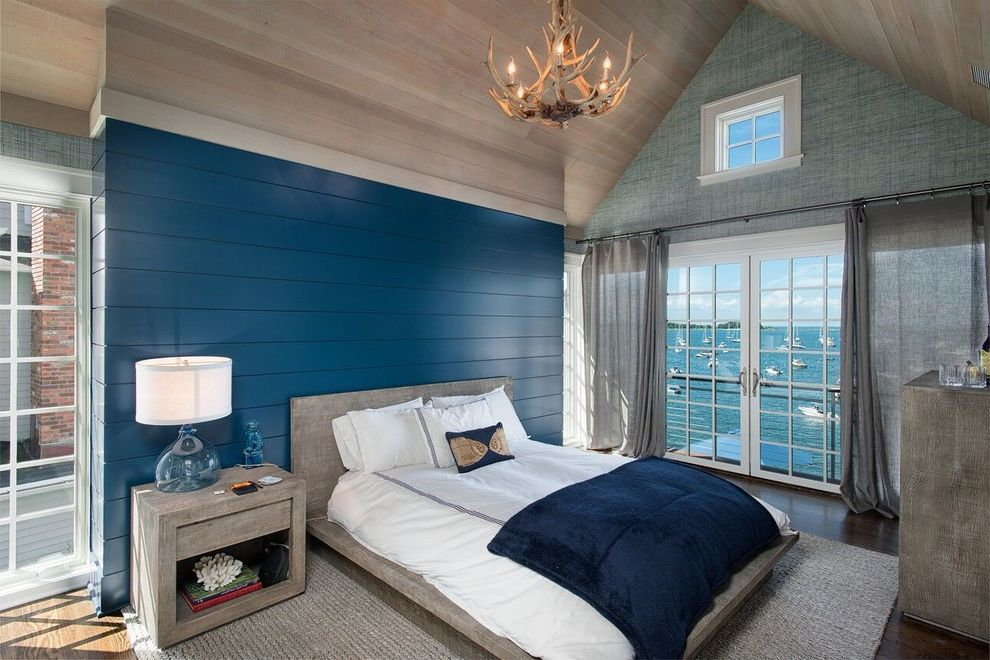 Navy Blue Bed Sheets   Beach Style Bedroom  and Antler Chandelier Area Rugs Bedding Curtains French Door Navy Blue Night Stand Paneled Ceiling Paneled Walls Platform Bed Shiplap Table Lamp Vaulted Ceilings Waterfront