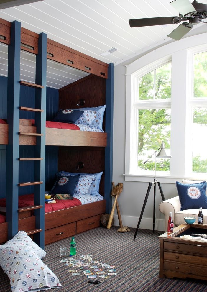 Navy Blue Bed Sheets   Traditional Kids  and Baseboards Bedroom Boys Room Built Ins Bunk Beds Ceiling Fan Dutch Bed Shared Bedroom Striped Carpet Tripod Lamp Under Bed Storage White Wood Wood Ceiling Wood Molding