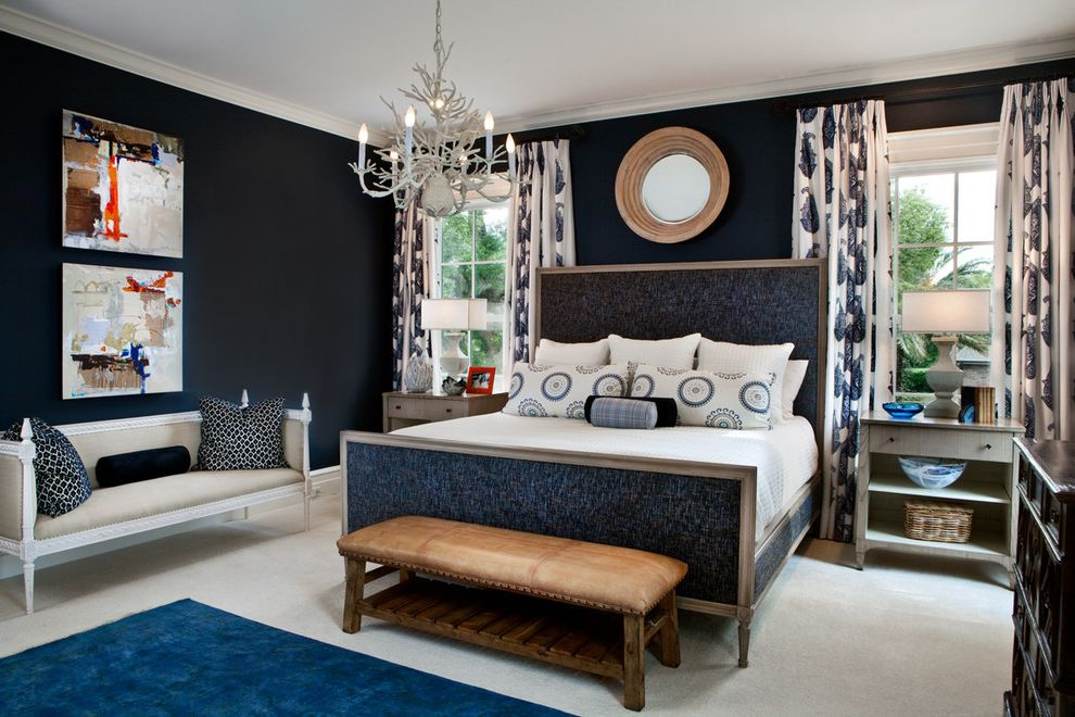 Navy Blue Bed Sheets   Transitional Bedroom Also Area Rug Bed Bench Bolsters Carpeting Chandelier Crown Molding Curtains Dresser Muntins Navy Blue Navy Blue Wall Nightstand Painting Pillows Round Mirrors Table Lamp White Bedding Windows