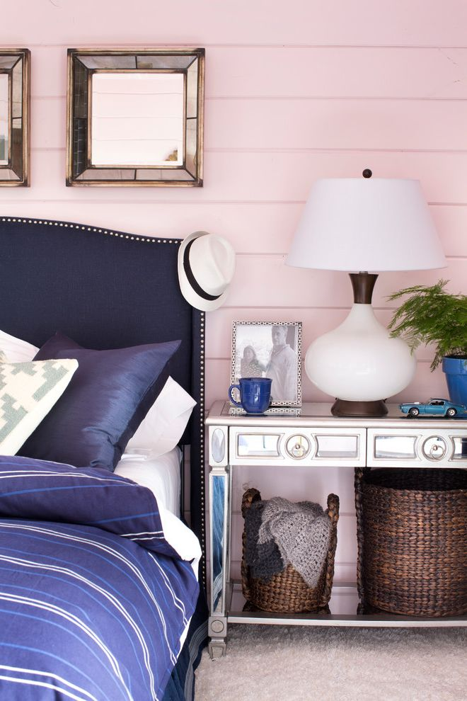 Navy Blue Bed Sheets with Contemporary Bedroom  and Mirrored Furniture Pink and Blue