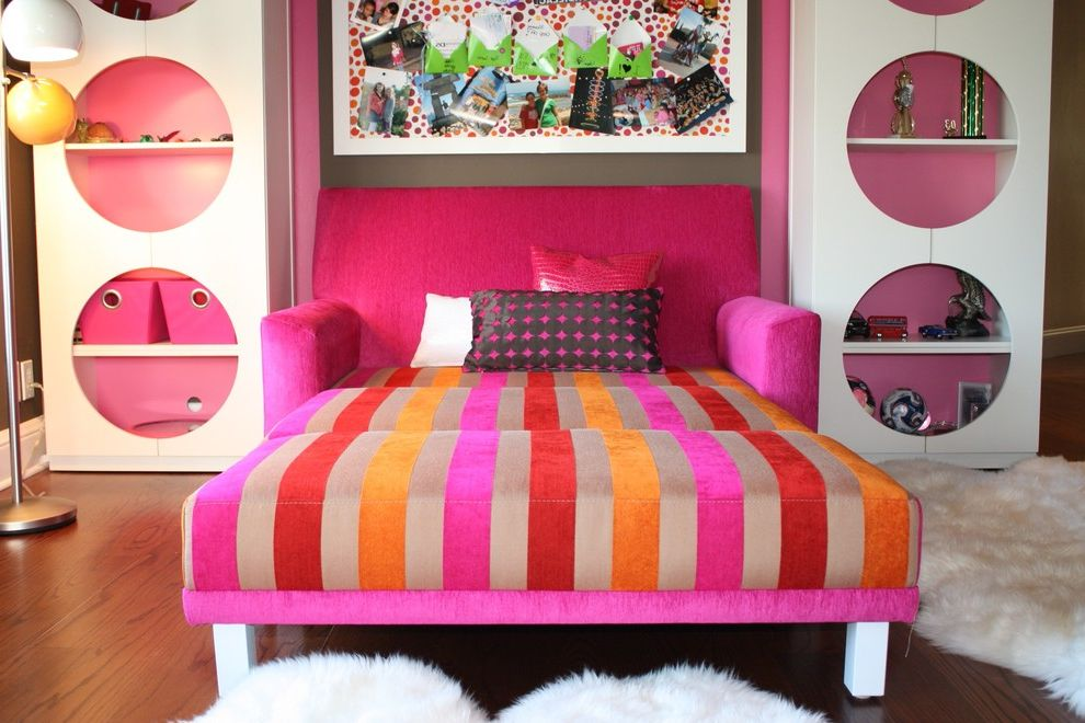 Nice Sofa Beds   Eclectic Kids  and Area Rug Bold Colors Bookcase Bookshelves Bright Colors Bulletin Board Decorative Pillows Foldout Armchair Inspiration Board Magenta Orange Pink Pink Armchair Red Sheepskin Rug Sleeper Armchair Throw Pillows