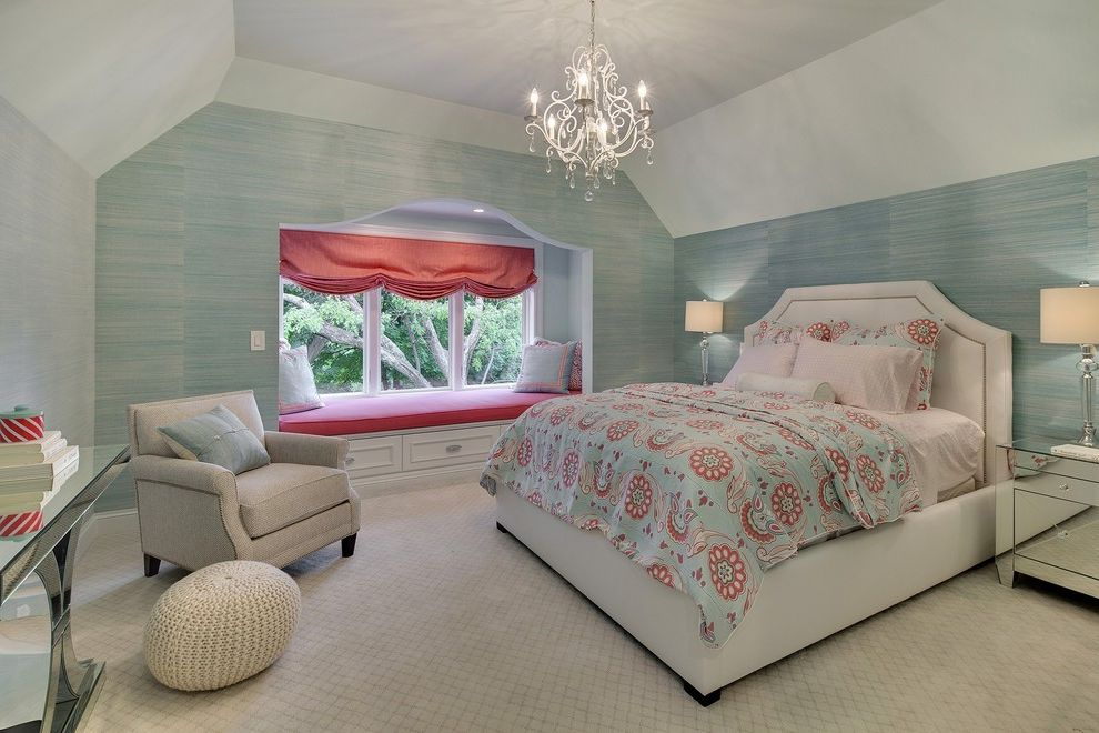 Nice Sofa Beds   Traditional Bedroom Also Armchair Bed Blue Wallpaper Built in Bench Chandelier Console Table Light Blue Mirrored Night Stand Pink and Blue Bedding Pouf Storage Bench Table Lamp Window Seat Window Shade
