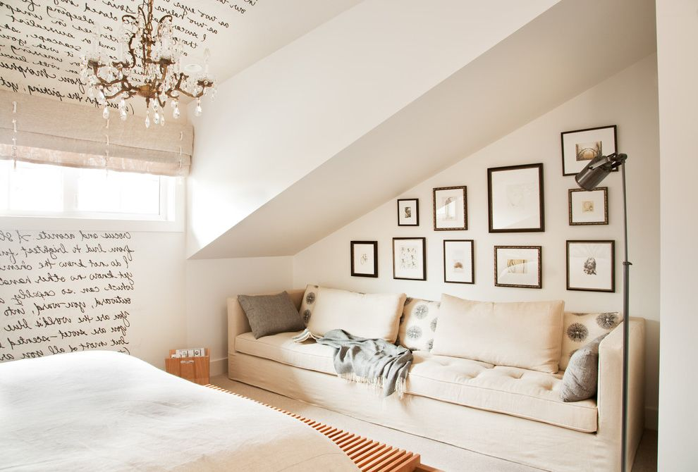 Nice Sofa Beds   Transitional Bedroom Also Bedding Beige Chandelier Cream Cushions Floor Lamp Framed Art Collage Mural Neutral Colors Shades Sloped Ceiling Sofa Throw Wall Art Wall Letters Window