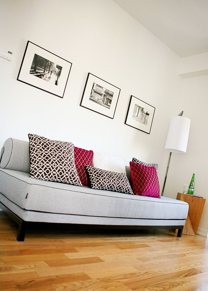 Nice Sofa Beds with Contemporary Living Room Also Black Black and White Photos Black Frames Convertible Bed Daybed Den Floor Lamp Gray Sofa Office Photography Pink Printed Pillows White White Walls Wood Floor Wood Stool