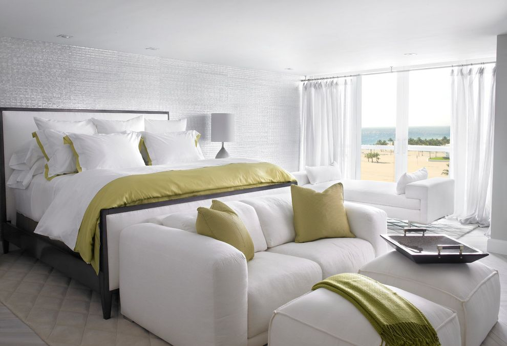 Nice Sofa Beds with Modern Bedroom  and Area Rugs Best White Duvet Cover Lime Modern Master Bedroom Mother of Pearl Tile Ocean View Recessed Lighting Serving Trays Sliding Doors White Couch White Drapes White Linens White Ottoman