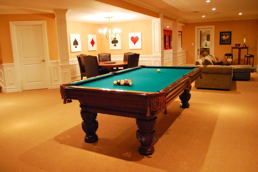 Octagon Card Table   Traditional Basement Also Basement Card Table Game Room Pool Table Raised Panels