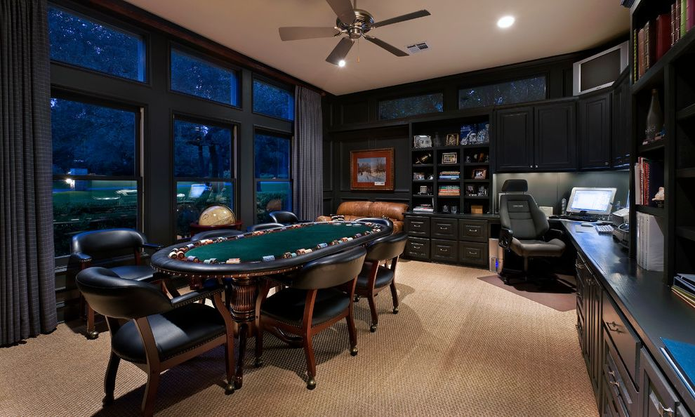 Octagon Card Table with Traditional Home Office Also Beige Carpet Built in Cabinets Built in Shelves Ceiling Fan Clerestory Windows Curtains Dark Cabinets Dark Walls Game Room Home Office Leather Chairs Man Cave Poker Table Recessed Lights