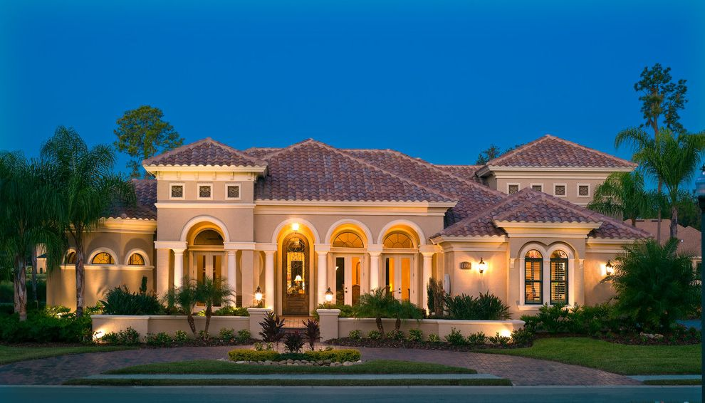 Olivera Construction   Mediterranean Exterior Also Arches Circular Driveway Coach Lights Columns Custom Home Exterior Exterior Elevation Front Elevation Landscape Wall Mediterranean Palm Trees Pavers Single Door Tile Roof Tower