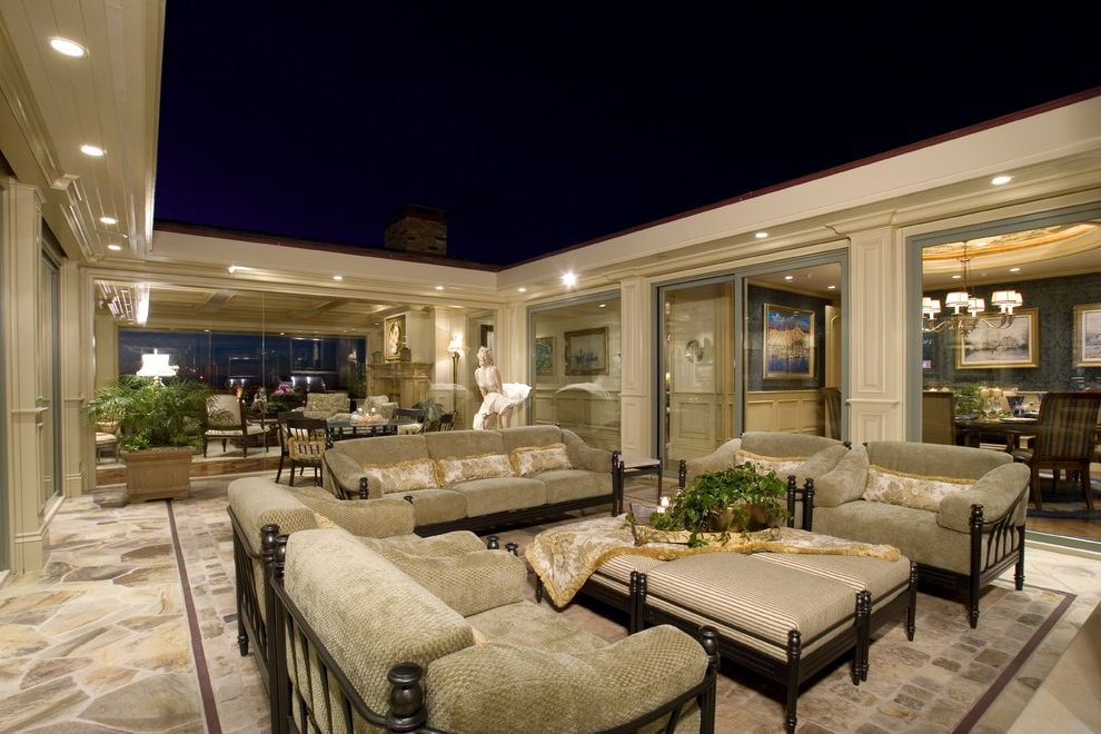 Orchard Supply Patio Furniture   Traditional Patio  and Flagstone Floor Mirror Ottomans Recessed Lights Seating Area Terrace Wood Columns