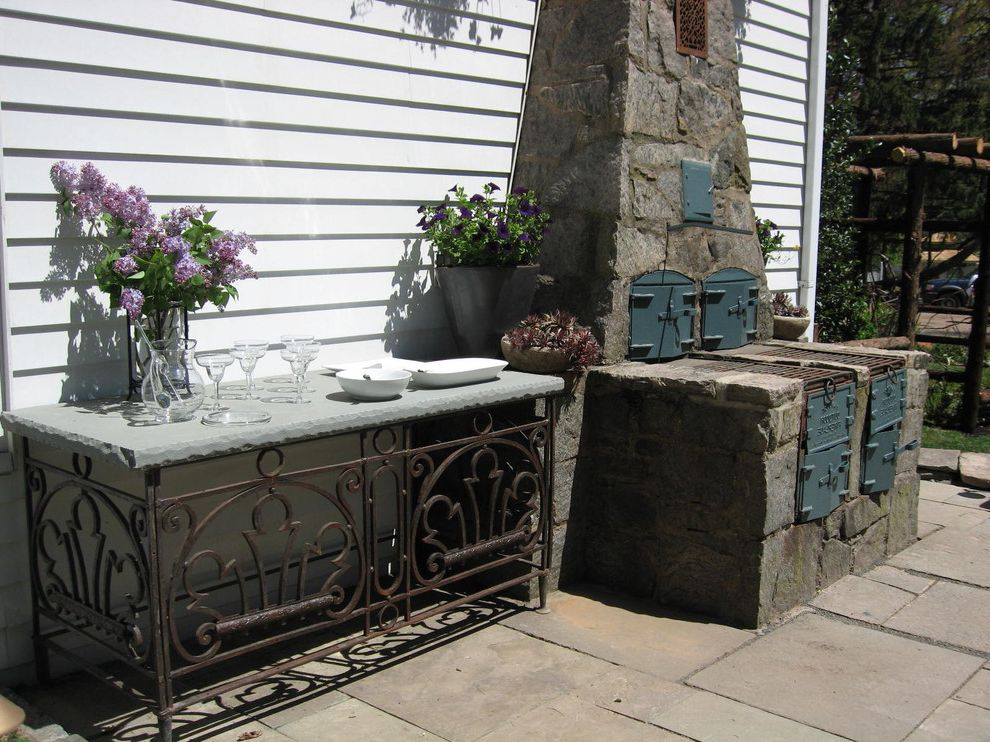 Outdoor Console Table Metal   Traditional Patio Also Barbecue Entertaining Exterior Fireplace Iron Landscape Design Outdoor Cooking Outdoor Fireplace Outdoor Room Outdoor Stove Patio Pavers Rock Rustic Stone Table Wood Siding
