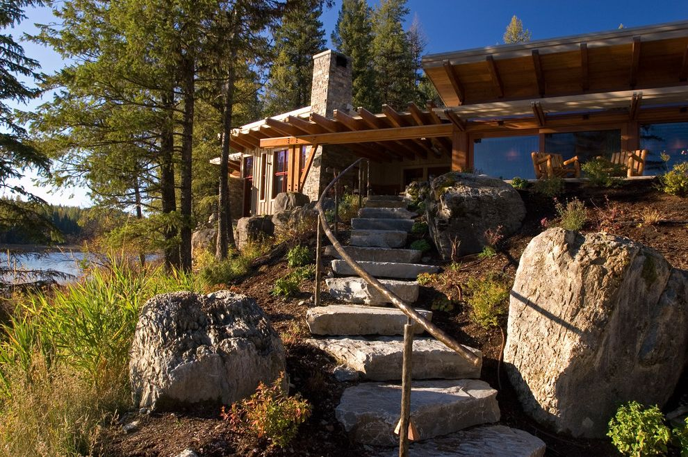 Outside Step Railings   Contemporary Landscape Also Boulders Chimney Post and Beam Construction Stairs Stepping Stones Stone Facade Stone Slab Tall Windows Vacation Home Water View Waterfront
