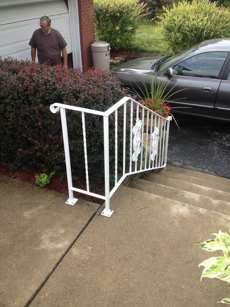 Outside Step Railings    Landscape  and Creative Custom Iron Outside Painted Powder Coat Railing Steel Steps Welding