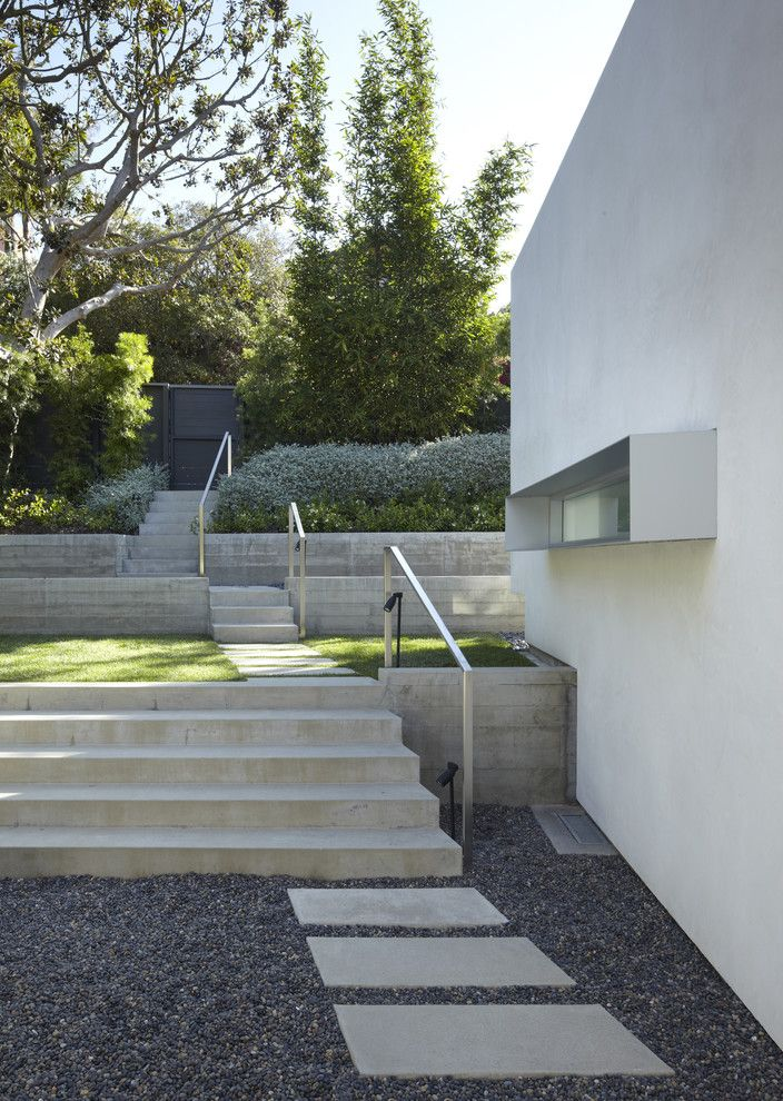 Outside Step Railings   Modern Landscape  and Concrete Concrete Steps Dark Gravel Garden Gate Gravel Lawn Path Pavers River Rock White Stucco Window Box
