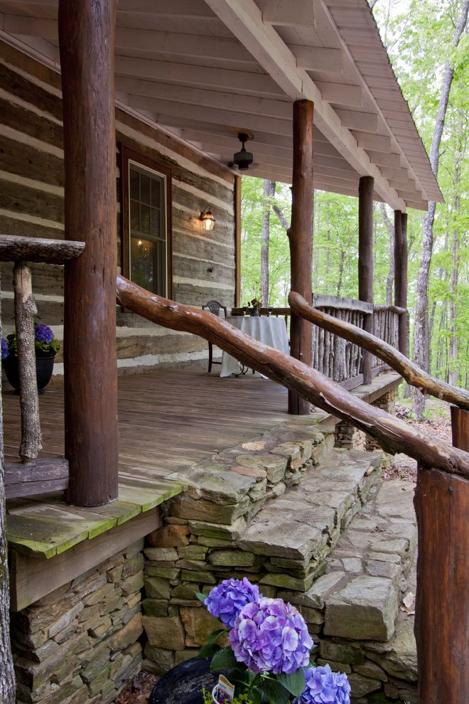 Outside Step Railings   Rustic Porch Also Cottage Covered Porch Log Porch Rock Rustic Rustic Porch Stone Stone Steps Timber Wood