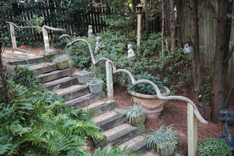 Outside Step Railings   Traditional Landscape  and Birdhouse Garden Handrail Garden Railing Gravel Natural Wood Outdoor Staircase Outdoor Stairs Planters Rustic Garden Design Stairway Statues Steps Tree Branch Railing Wood Steps