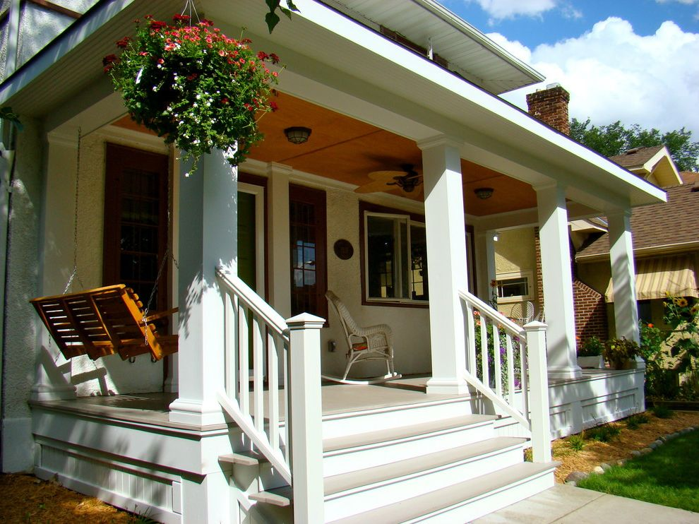 Outside Step Railings   Traditional Porch Also Azek Porch Banister Ceiling Fan Ceiling Light Columns Covered Porch Craftsman Pillars Craftsman Porch Front Porch Porch Skirting Porch Swing Rocking Chairs Staircase Steps Trex Railing