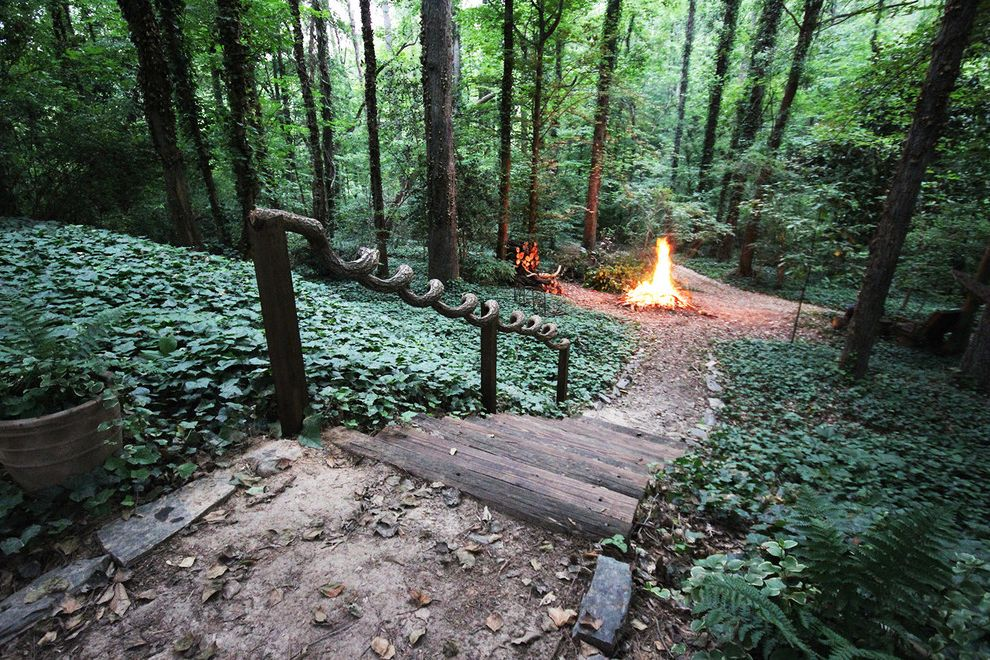 Outside Step Railings with Eclectic Landscape  and Fire Circle Forest Ivy Path Step Vine Handrail Wood Step