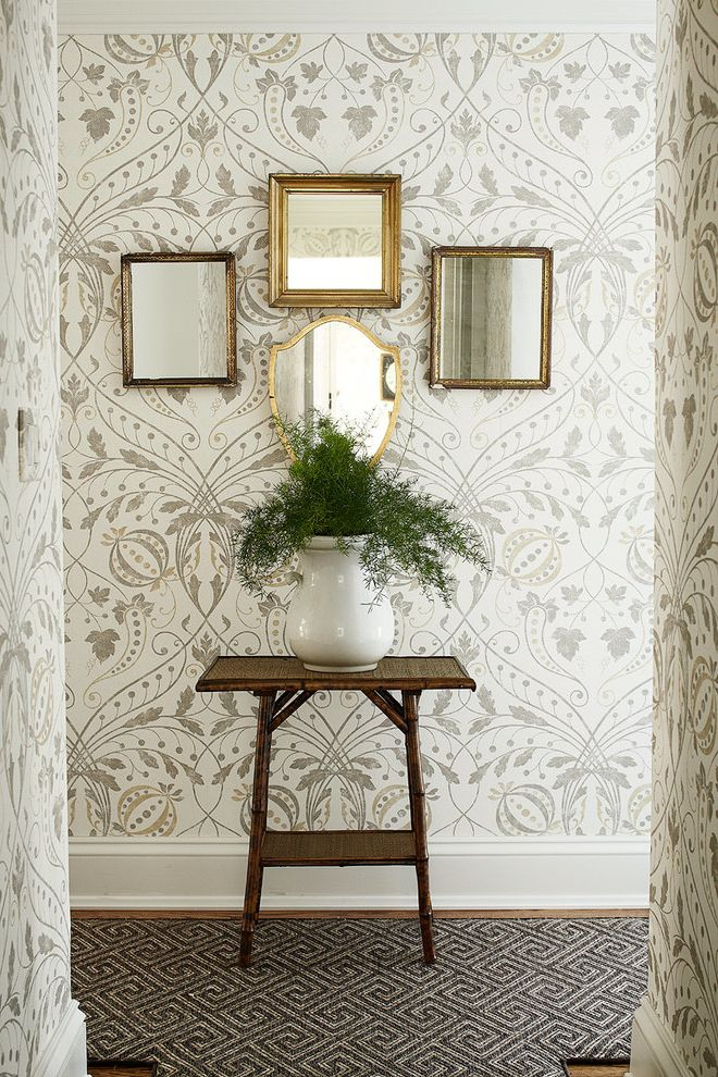 Oxbow Window   Traditional Hall  and Floral Wallpaper Framed Mirrors Potted Plant Wall Mirror Wood Table