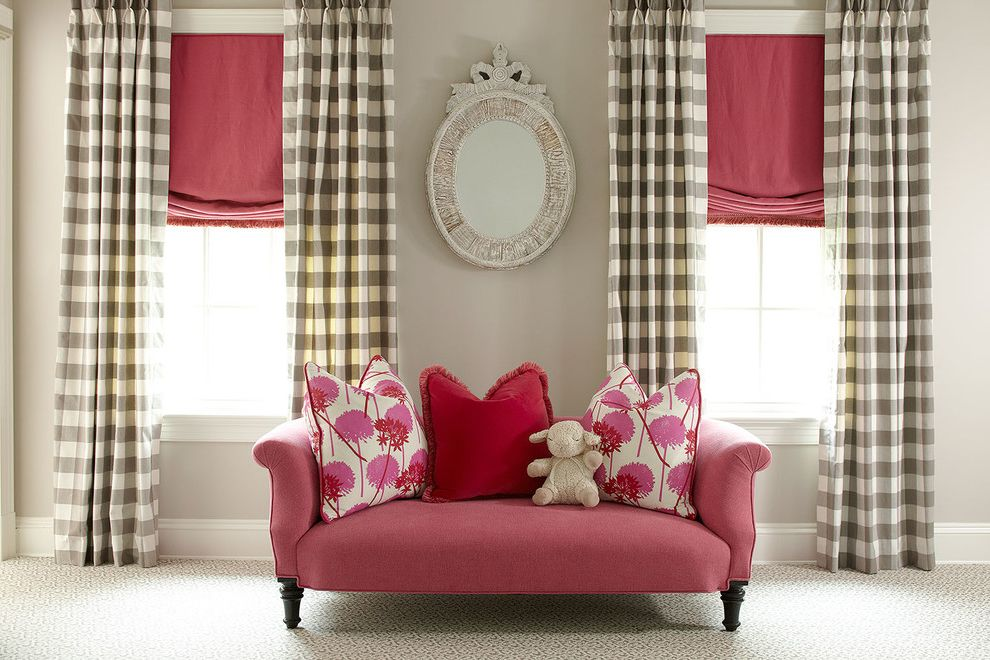 Oxbow Window   Transitional Kids Also Girls Room Gold Sconces Grey Pink Couch Pink Soft Roman Shade White Checkered Fabric White Window Trim