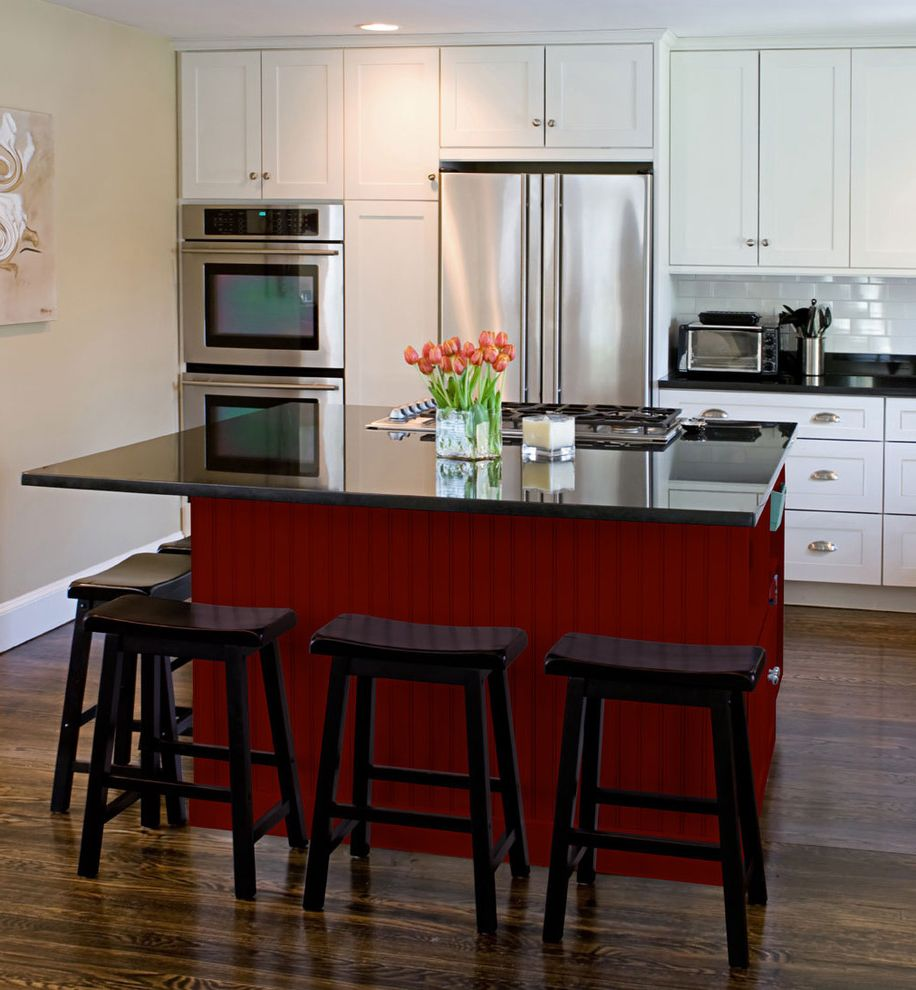 Paradise Tree Service with Contemporary Kitchen  and Island Kitchen Island Red Cabinets Red Kitchen Red Kitchen Cabinets White Cabinets White Kitchen White Kitchen Cabinets Wood Floor