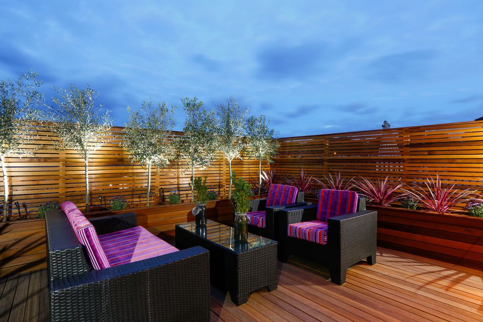 Paradise Tree Service with Eclectic Deck  and Coffee Table Decking Decking Furniture Garden Lighting Olive Trees Rattan Furniture Roof Deck Roof Terrace Terrace Lighting Wooden Fence