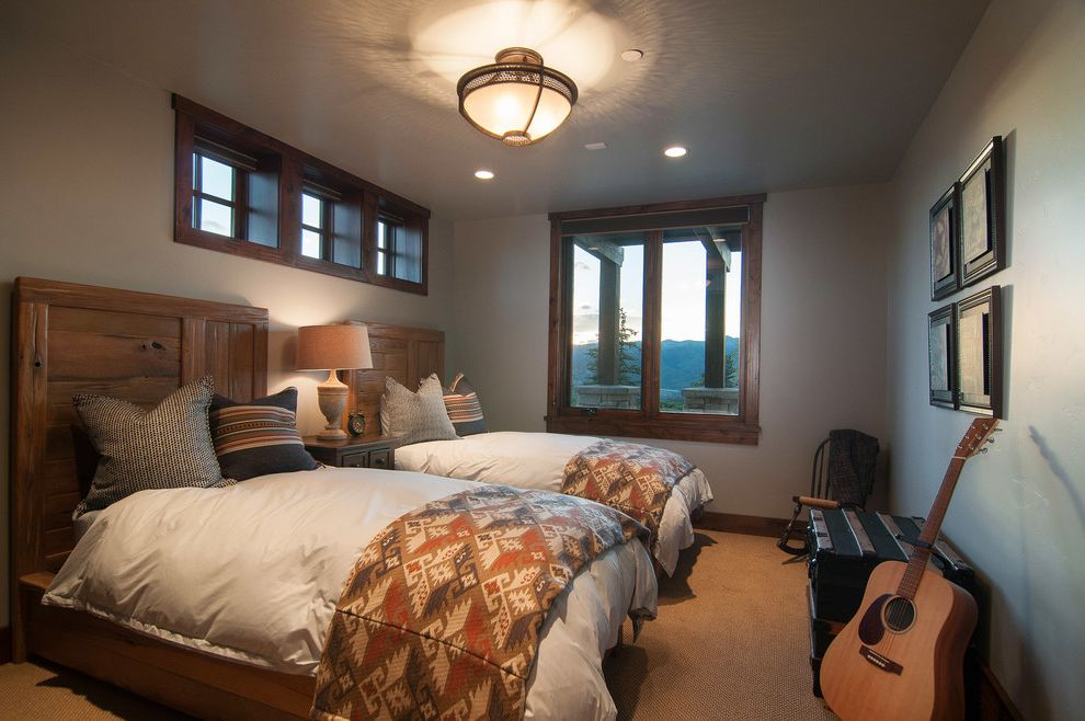 Park City Showcase of Homes   Rustic Bedroom  and Acoustic Guitar Boys Bedroom Boys Room Masculine Bedroom Recessed Lighting Semi Flush Ceiling Light Tan Carpet Two Beds Two Twin Beds White Duvet Wood Headboard