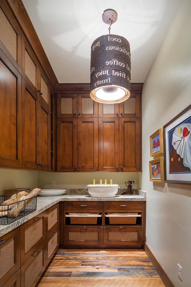 Park City Showcase of Homes   Rustic Kitchen  and Framed Art Mountain Home Pantry Pendant Light Pullout Baskets Wall Art