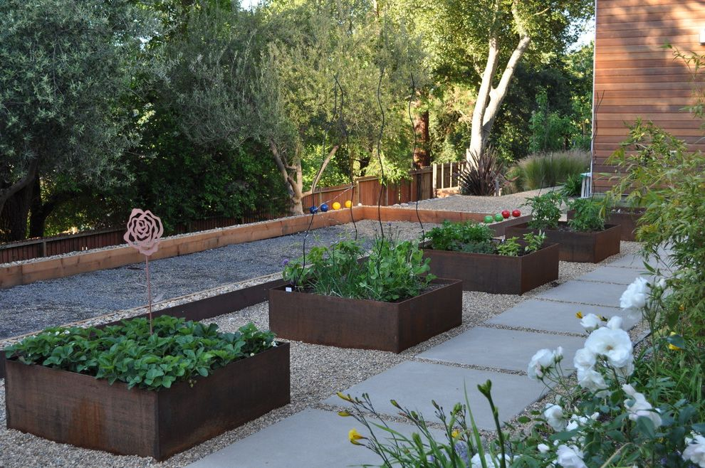 Personalized Valet Box with Contemporary Landscape  and Bocce Ball Concrete Geometric Geometry Gravel Hillside Outdoor Entertaining Path Paver Planter Raised Bed Raised Planter Recreation Slope Steel Step Vegetable Garden Walkway Wooden Fencing
