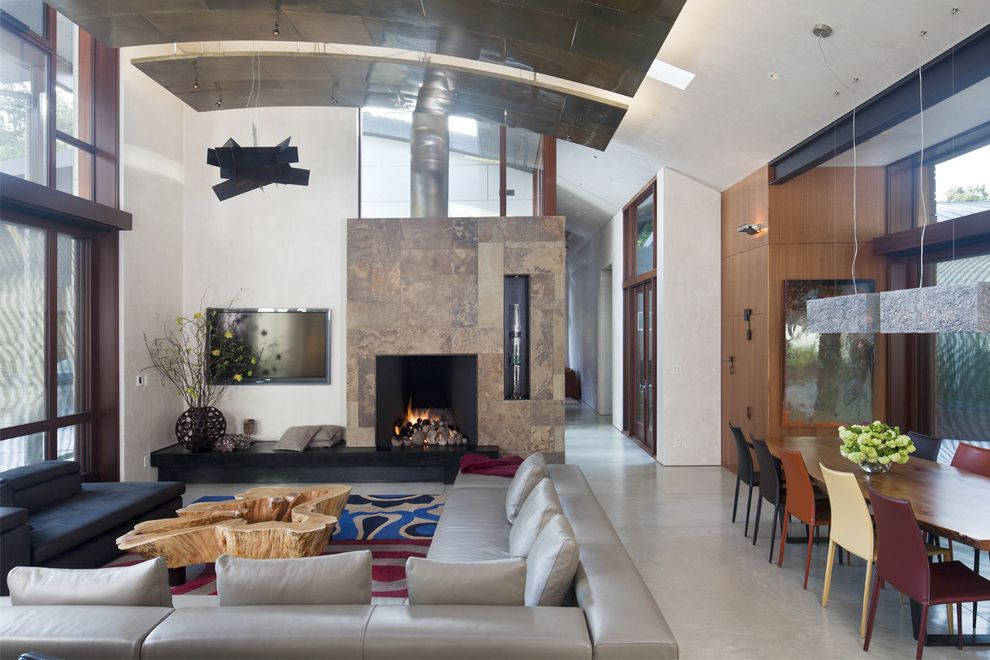 Petaluma Storage   Contemporary Living Room  and Arched Ceiling Area Rug Fireplace Inverted Tree Root Leather Leather Dining Chairs Pendant Lights Polished Concrete Sectional Sky Light Tile Fire Surround