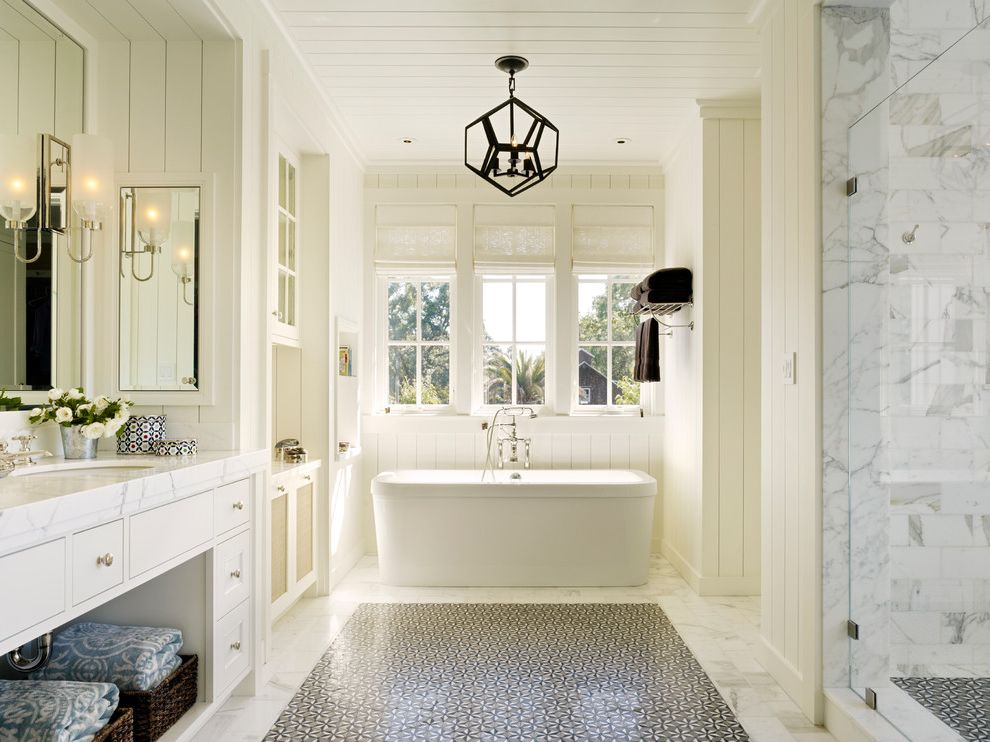Petaluma Storage   Farmhouse Bathroom Also Bathroom Bathroom Design Farmhouse Geometric Chandelier Light Sconce Marble Countertops Marble Shower Mirrored Medicine Cabinet Patterned Floor Tile Pendant Light Shiplap Wall Sconce White Countertop