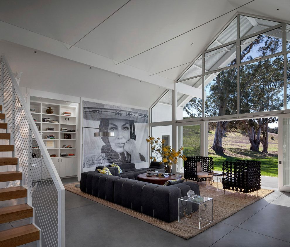 Petaluma Storage with Contemporary Living Room  and Black Couch Jute Rug Large Scale Contemporary Art Turnbull Griffin Haesloop Vaulted Ceiling