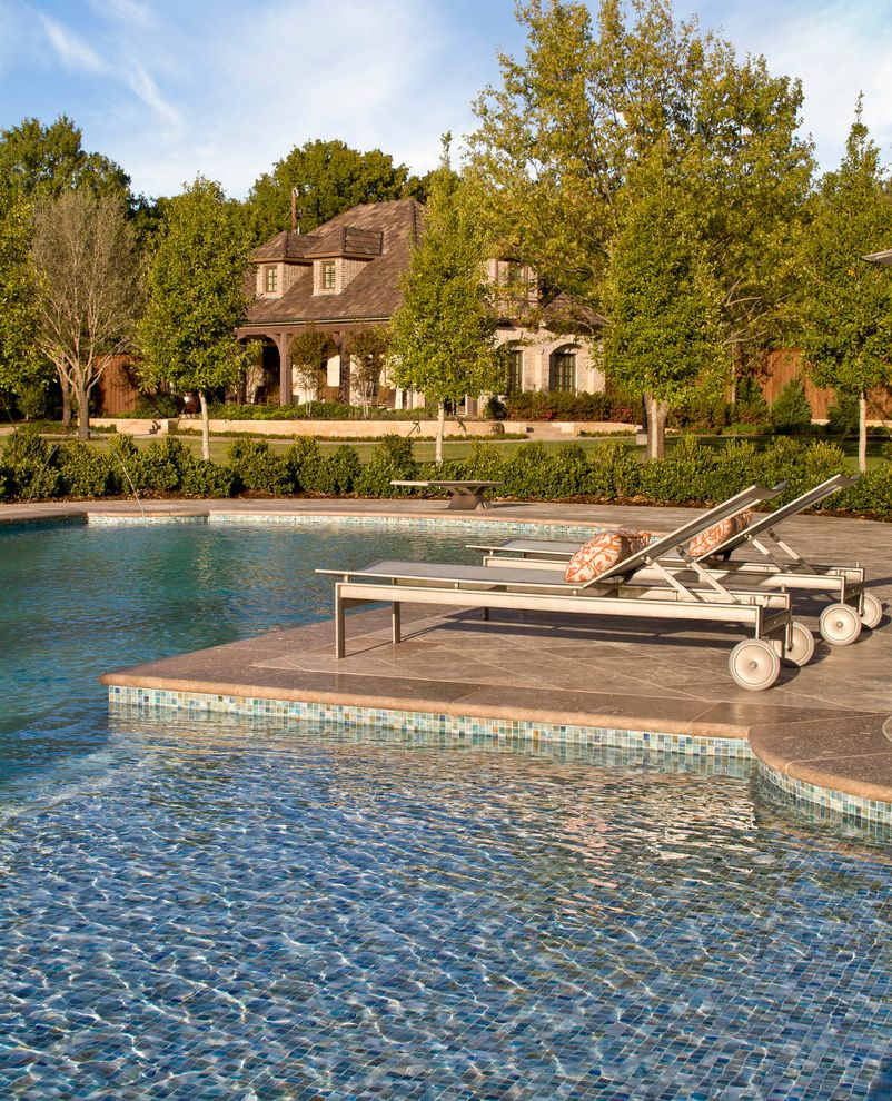 Platinum Pools Az   Traditional Pool Also Archway Bushes Diving Board Large Pool Mosaic Tile Pool Natural Landscape Outdoor Chaise Lounge Stone Exterior Stone Patio Trees Wading Pool Wood Beams