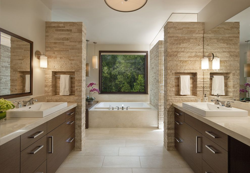Plumber Parker Co   Contemporary Bathroom  and Calm His and Hers Large Window Niche Spa Bath Square Window Stone Tranquil Travertine Tile Two Sinks Two Vanities Wall Mirrors Wall Sconces
