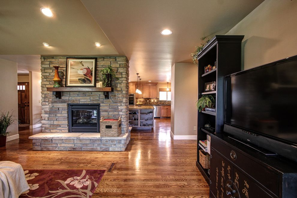 Plumber Parker Co   Traditional Living Room  and Capstone Home Renovations Double Sided Gas Fireplace Hardwood Floors Parker Granite Countertops Parker Kitchen Remodel Parker Kitchen Remodel Contractor Pinery Kitchen Remodel Stone Fireplace