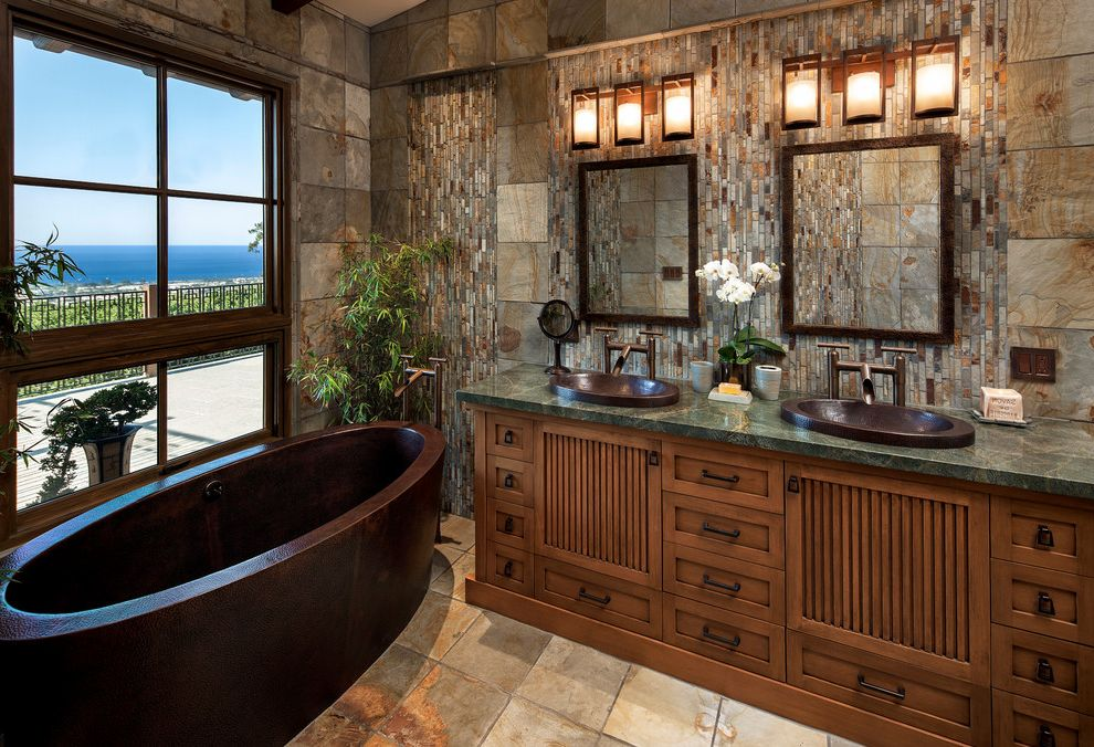 Plumber Vista Ca   Asian Bathroom Also Copper Bathtub Copper Sinks Custom Asian Inspired Vanity Custom Mirrors Slate Tile Slate Tile Waterfall Sonoma Forge Faucet