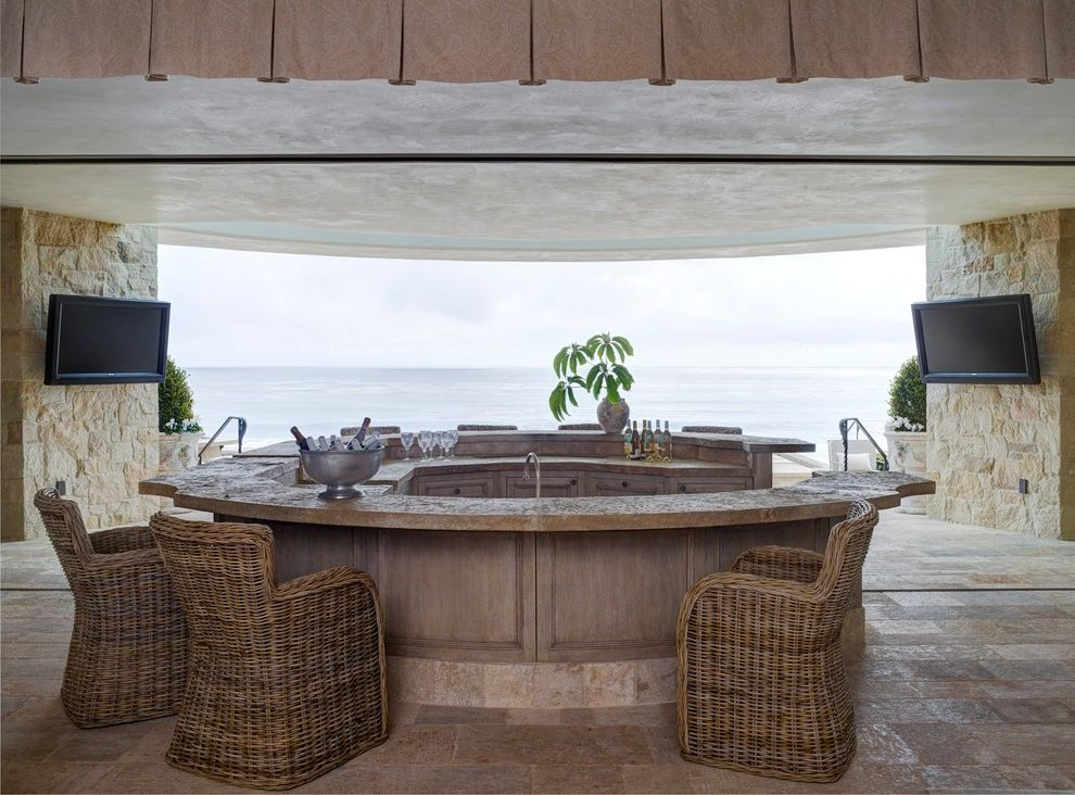 Plumber Vista Ca with Mediterranean Home Bar  and French Provincial Luxury Beachfront Luxury Custom Home Ocean View Rustic European Stone Tv Wet Bar Wicker Chairs